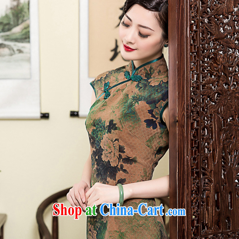 Seal 2015 Yin Yue Hong Kong cloud yarn long, improved cheongsam retro elegant silk short-sleeved summer dress picture color L pre-sale 15 days