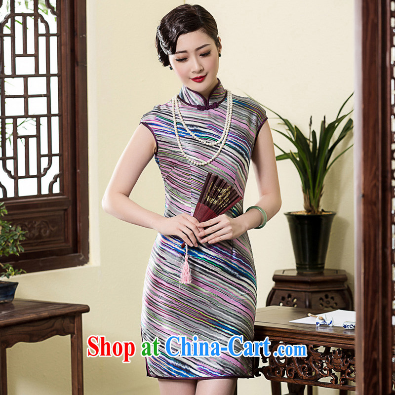 Royal Seal Yin Yue 2015 heavy silk Chinese national short-sleeved Silk Cheongsam Shanghai wind Korea dos santos Ms. Silk Cheongsam picture color XL