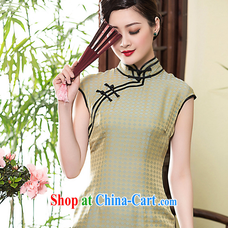 Yin Yue seal 2015 heavy silk fragrant cloud yarn long high on the truck dresses double-rimmed and Ms. improved dress picture color XL