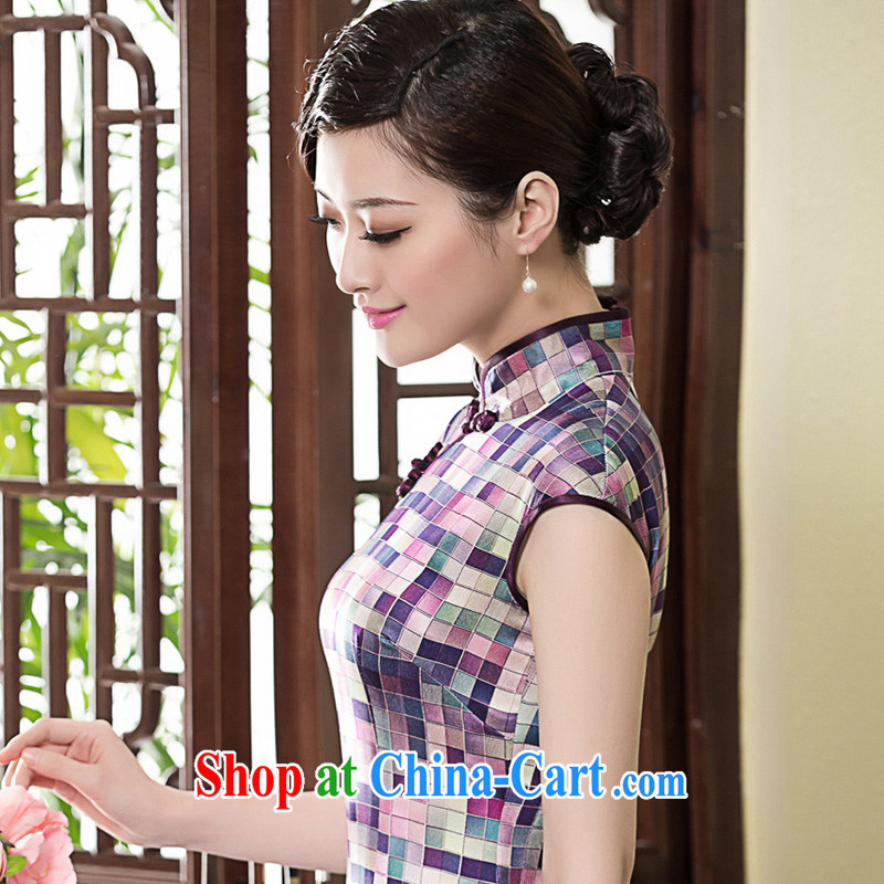 Yin Yue seal summer new heavy silk Chinese Chinese qipao daily elegant Korea improved cheongsam dress picture color XXL