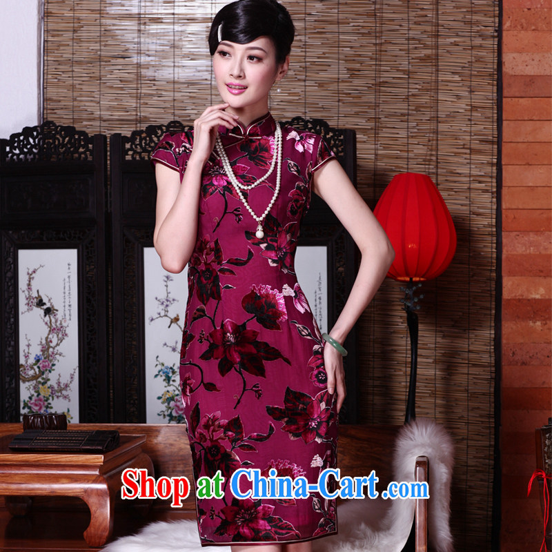 Yin Yue seal 2015 spring and summer new cheongsam dress really wool beauty graphics thin retro Republic Day dresses elegant picture color XL pre-sale 20 days