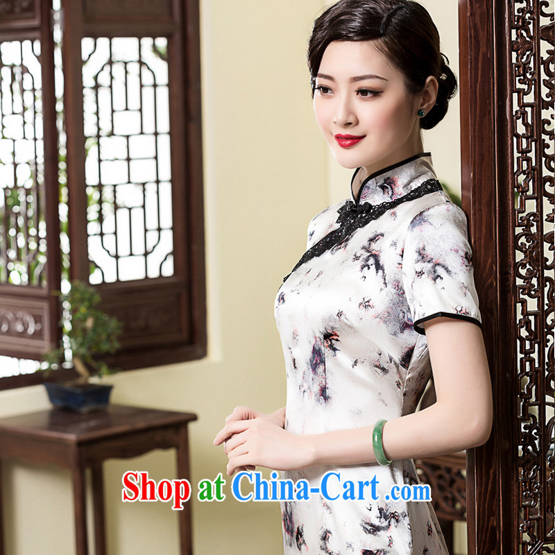 Yin Yue seal 2015 spring and summer new retro Silk Cheongsam dress Korea improved lace edge elegant and exclusive dresses picture color XL pre-sale 20 days