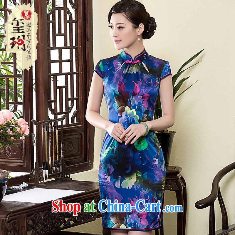 Yin Yue seal 2015 New Silk daily improved cheongsam name Yuan National Annual Meeting banquet retro elegant qipao dress picture color XL