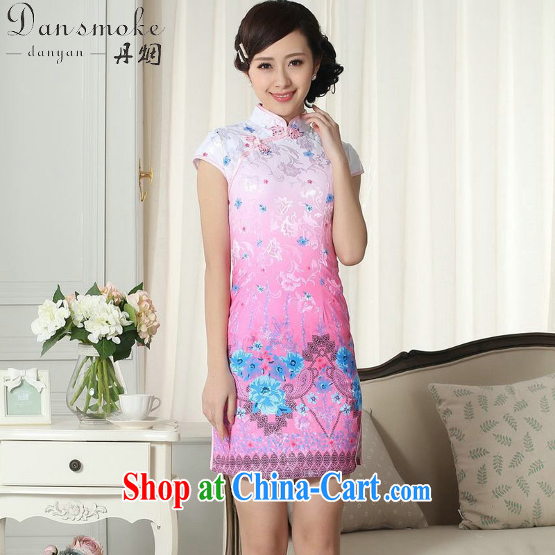 Bin Laden smoke-free summer new female lady stylish jacquard cotton cultivating short cheongsam dress new Chinese, Traditional costumes for Dress as color 2XL