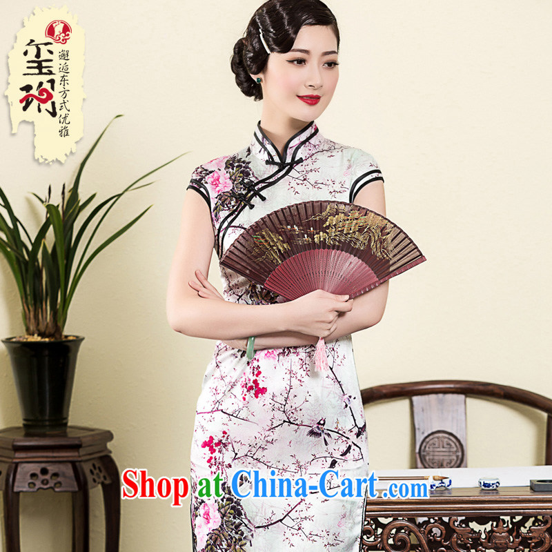 Royal Seal Yin Yue 2015 spring and summer new, high-end heavy Silk Cheongsam elegant stamp duty sauna silk female cheongsam dress picture color XL