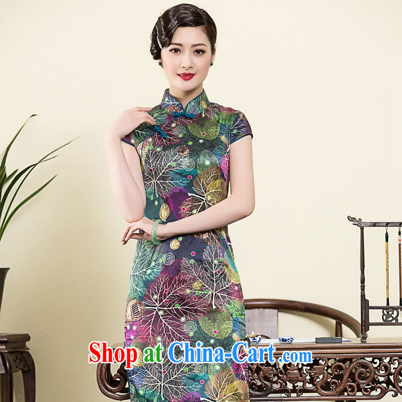 Yin Yue seal 2015 spring and summer new heavy Silk Cheongsam banquet art stamp improved day-dresses, skirts picture color M