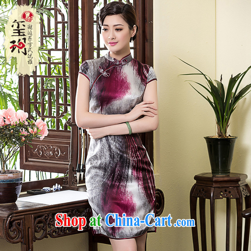 Yin Yue seal 2015 spring and summer new Korea Heavy Silk Cheongsam dress the forklift truck antique cheongsam dress Chinese picture color XL