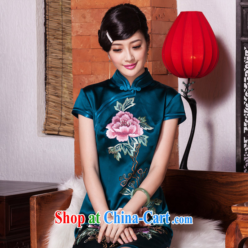 Seal 2015 confirming the Satin silk embroidery cheongsam upscale Ethnic Wind improved manually Push Ms. embroidered fashion cheongsam picture color XL