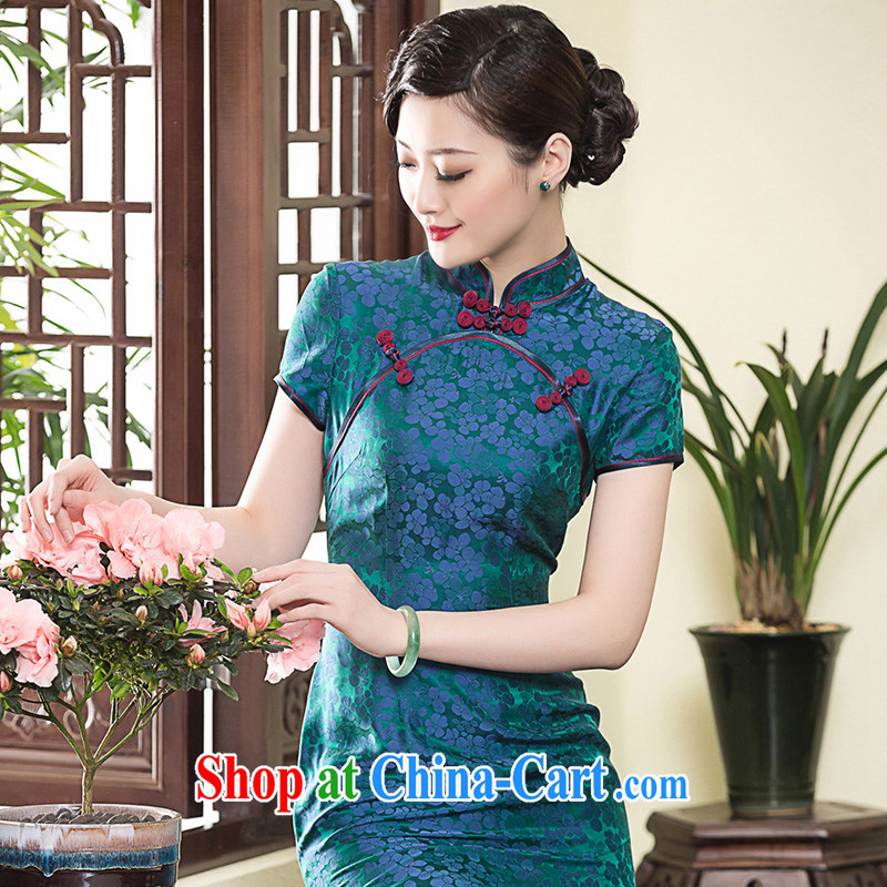 Yin Yue NARS summer 2015 long, fragrant cloud yarn Silk Cheongsam dress short-sleeved improved Chinese Ethnic Wind cheongsam dress picture color L