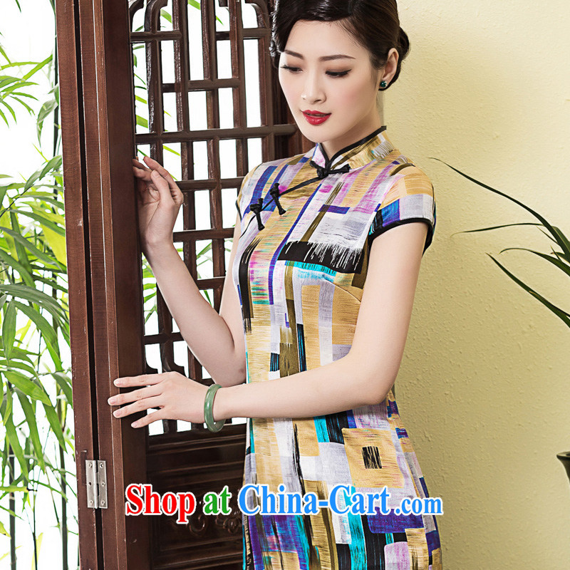 Yin Yue seal 2015 heavy silk sauna summer Silk Cheongsam improved, stamp daily short cheongsam dress picture color L
