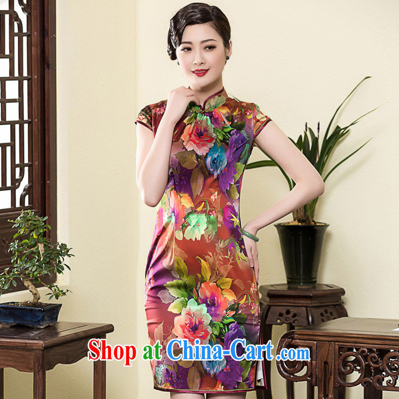 Yin Yue 2015 autumn new Korea Wind Flower heavy Silk Cheongsam daily retro banquet, cheongsam dress picture color XL