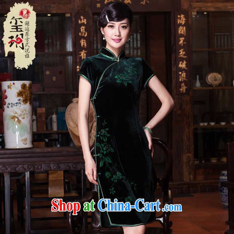 Yin Yue seal 2015 high quality wool staple beads hand-painted daily cheongsam elegant improved national cheongsam dress E 398 green XXL