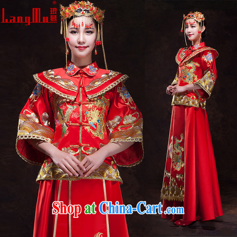 In Luang Prabang in 2015 of new show reel Service Bridal Chinese Dress toast winter clothing cheongsam Phoenix use long-sleeved retro married Yi XL