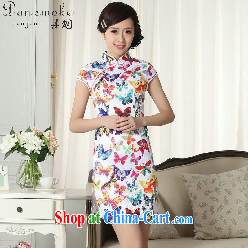 Bin Laden smoke summer new female lady stylish jacquard cotton cultivating short qipao group, for a tight Chinese qipao gown D 0285 2 XL