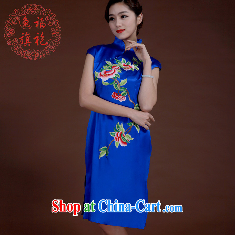 once and for all, royal blue improved, embroidery short cheongsam heavy silk embroidered Chinese clothing qipao manually blue tailored 20 day shipping