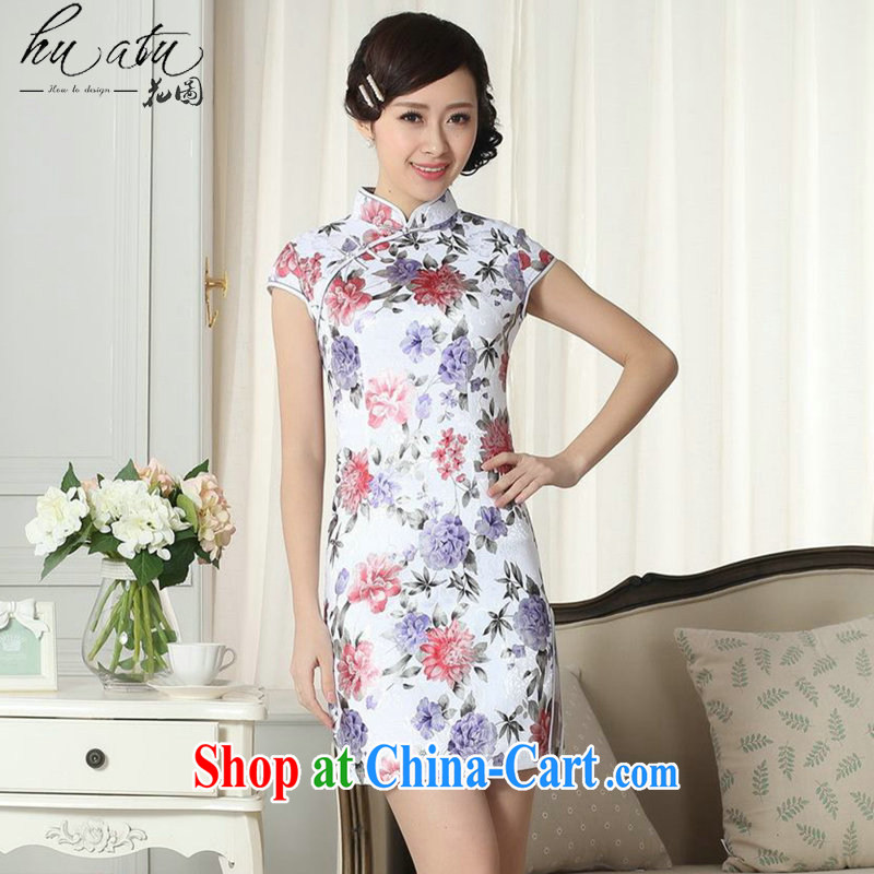 spend the summer new female lady stylish jacquard cotton cultivating short qipao group, for a tight Chinese qipao gown D 0286 2 XL