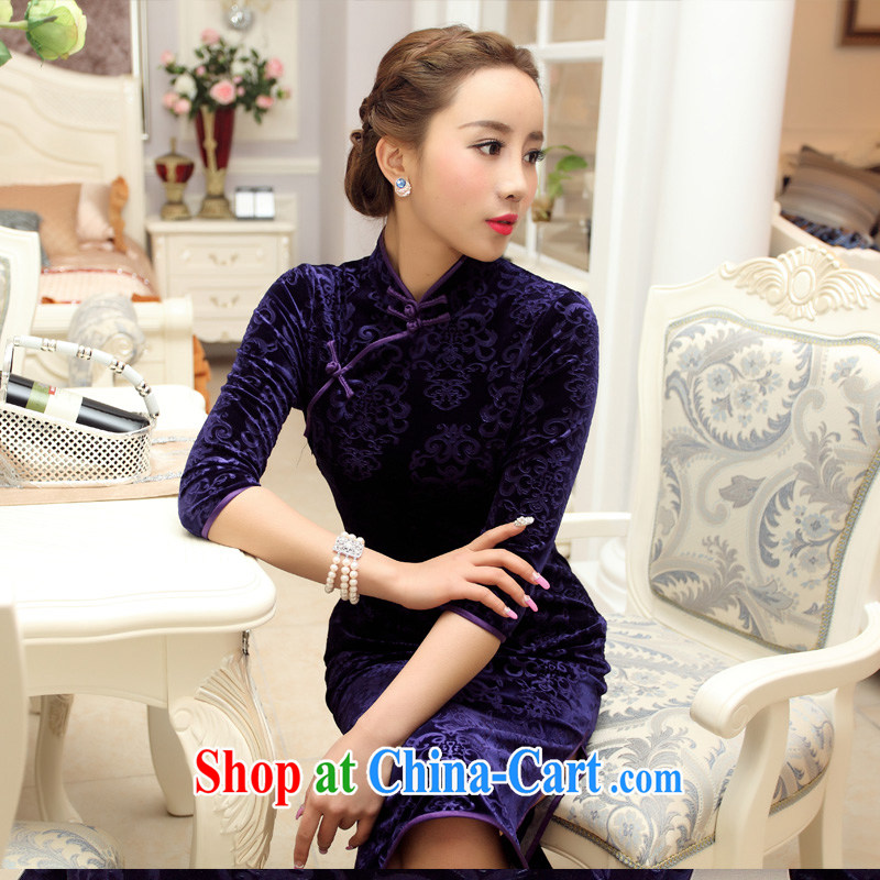 Yin Yue seal 2015 new fall outfit with improved really scouring pads burned flowers and elegant minimalist retro Korea girls dresses purple XXXL