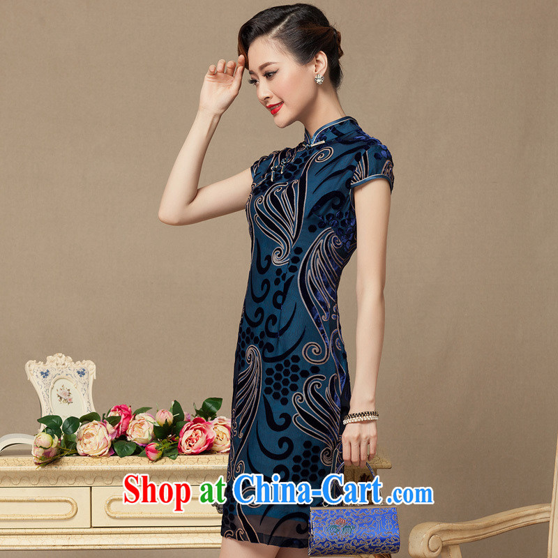 Yin Yue seal 2015 summer short cheongsam dress Korea skirt retro banquet toast serving daily improved cheongsam Ms. blue bottom M