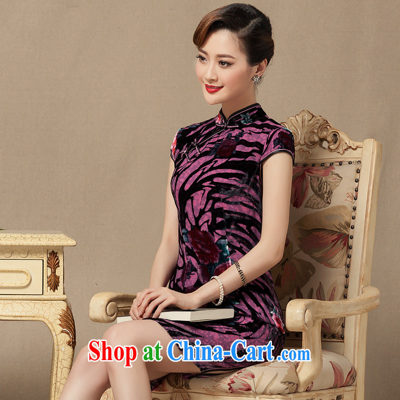 Yin Yue NARS summer 2015 new, short cheongsam silk black flower lint-free cloth robes dress improved daily evening gown picture color XXXXL