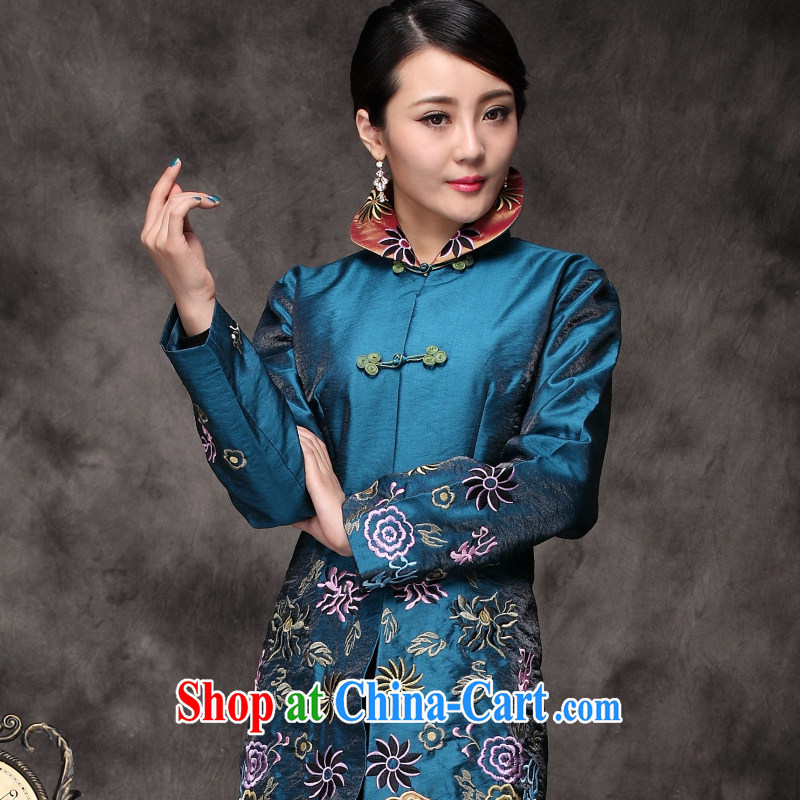 Yin Yue seal 2015 winter Chinese national code jacket retro, mom with Chinese Embroidery T-shirt-tie turquoise L