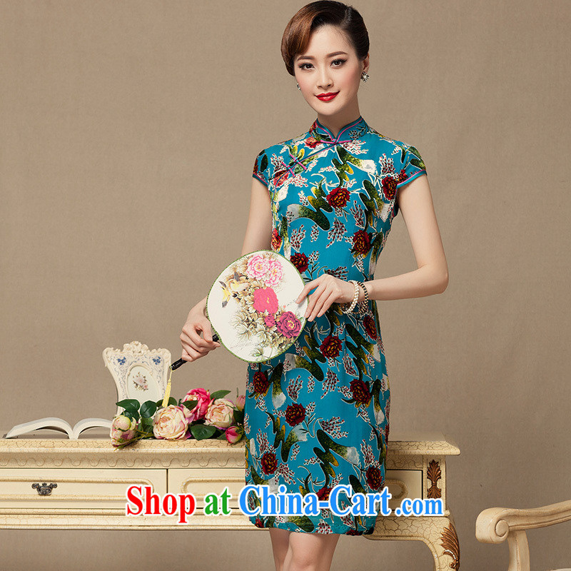 Yin Yue seal 2015 summer wool dresses daily improved dress China wind flocking antique dresses Ms. blue skirt XXL