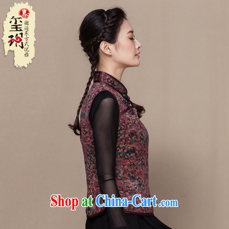 Yin Yue seal winter 2015 New National wind Tang is a vest incense cloud yarn floral quilted robes T-shirt-tie floral L
