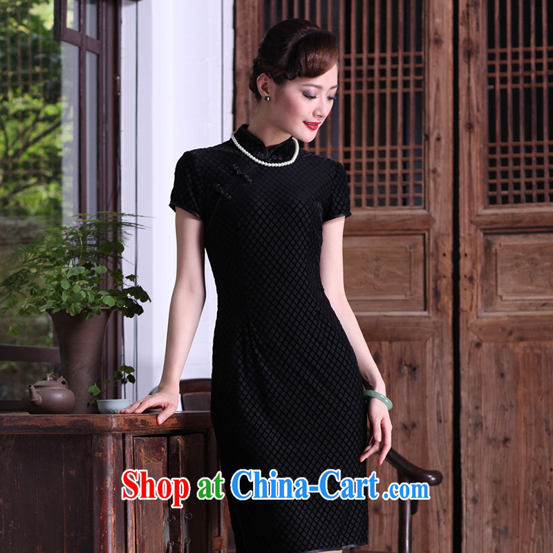 Yin Yue seal of Ms. retro style dresses short autumn really wool Chinese qipao dress daily improved black short-sleeved M