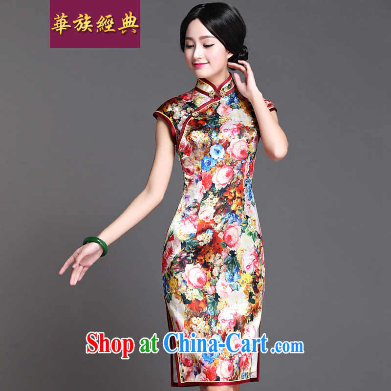 China classic 2015 new daily republic Ms. wind Chinese cheongsam dress retro improved temperament spent cultivating the priests XXXL