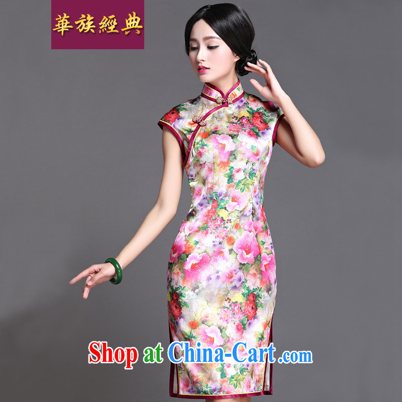 China classic 2015 spring and summer Daily Beauty Ms. Chinese cheongsam dress improved stylish literary short Chun Tao XXXL