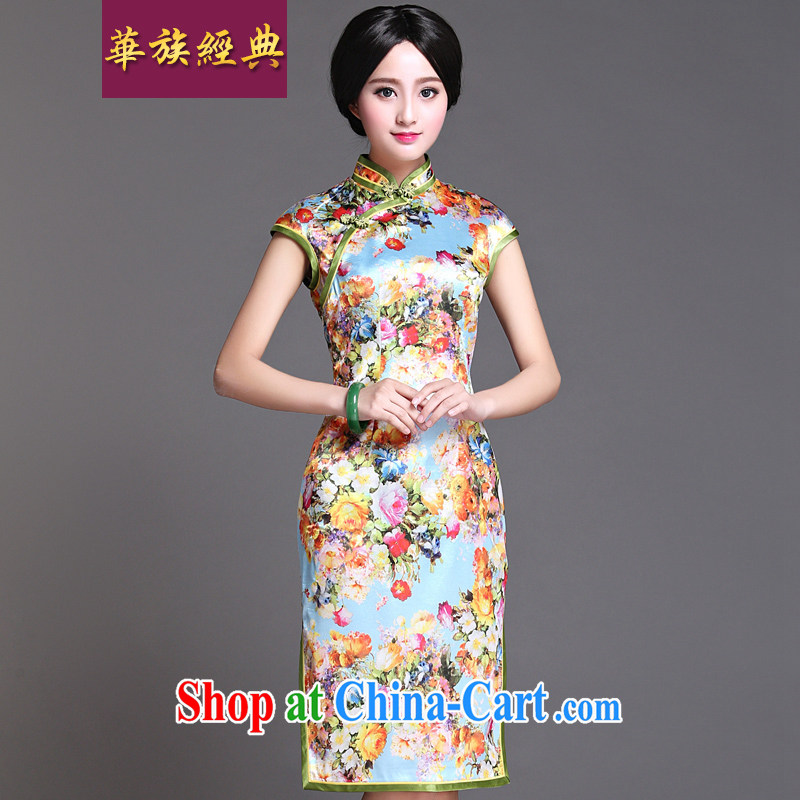 China classic 2015 spring and summer day, qipao dresses improved Stylish retro style graphics thin beauty Yuk House XXXL spring