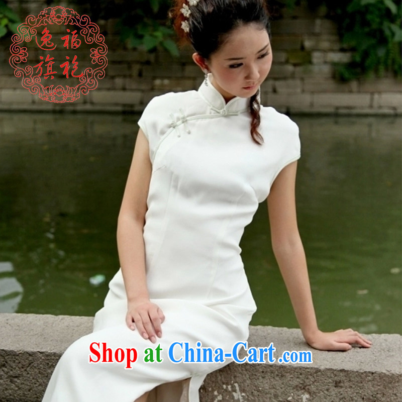 once and for all-day-long dresses, white cotton Ma Sau San retro new dresses original improved advanced custom white M