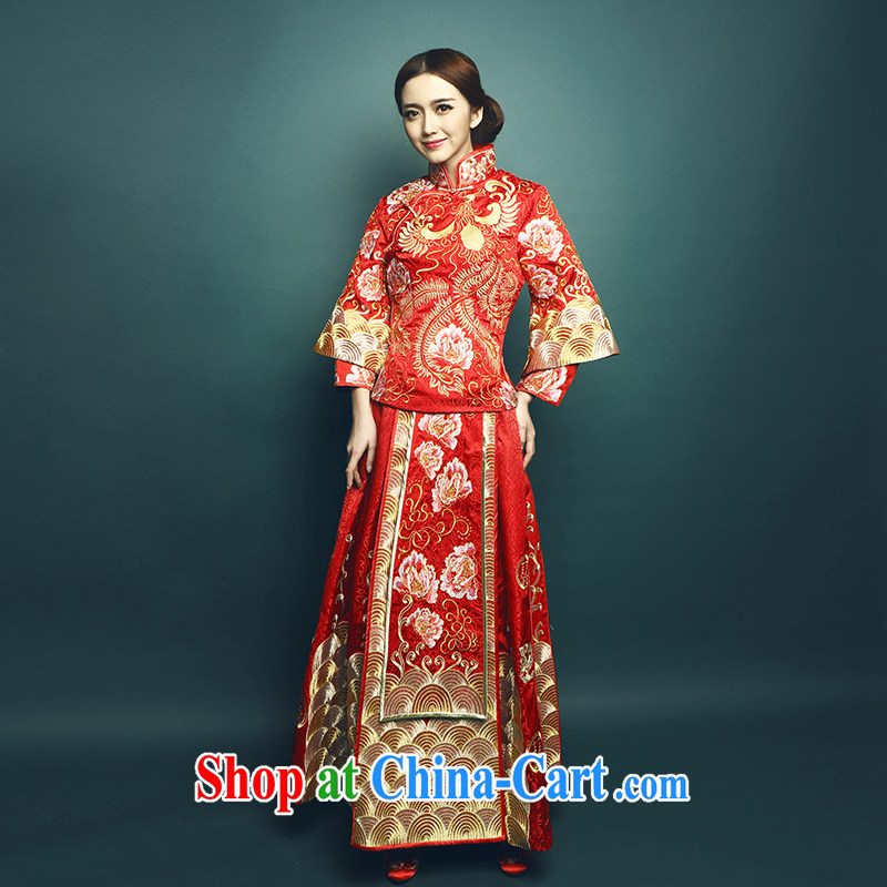 Mu Yao 2015 new Chinese bride's high-end-su Wo serving Phoenix and long, long-sleeved wedding toast serving spring and summer manual embroidery large, thick pregnant women 2 piece 1150 luxury embroidery skirt with M brassieres 90 CM