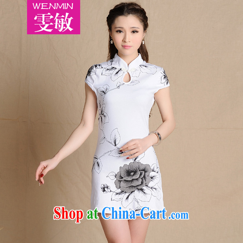 Wen Min 2015 New National wind painting beauty retro cotton robes women 5907 white XXL