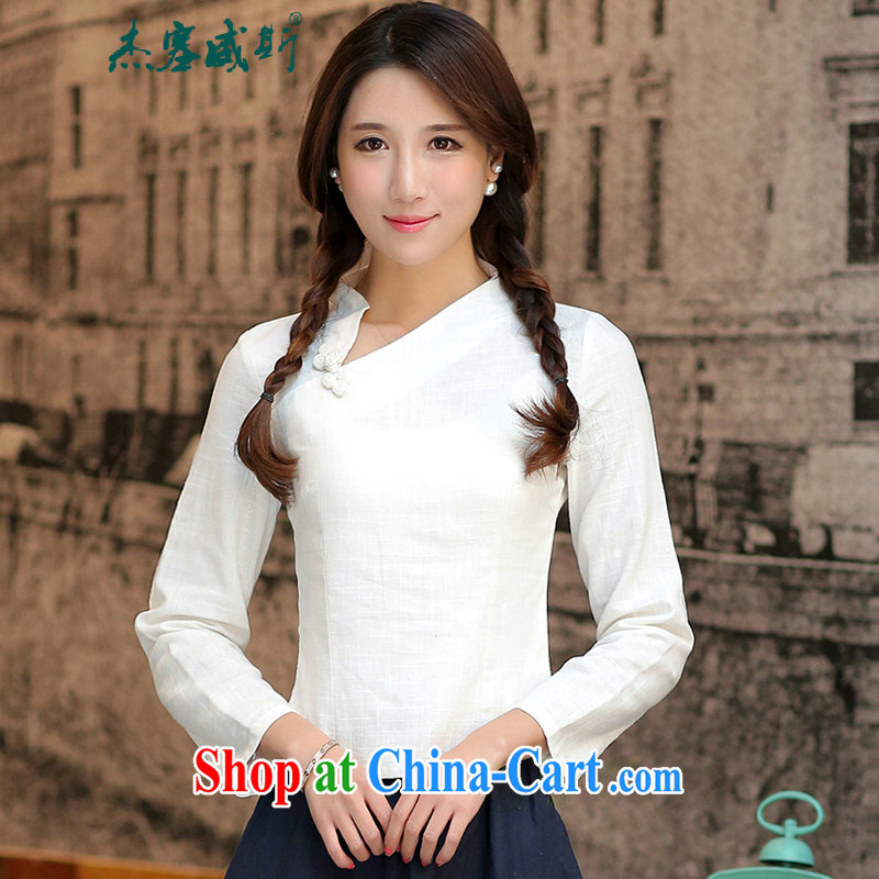 Cheng Kejie, Wiesbaden, China wind improved and elegant linen hand-tie Crescent collar, with little's solid-colored Chinese T-shirt white shirt cuff in Crescent collar M