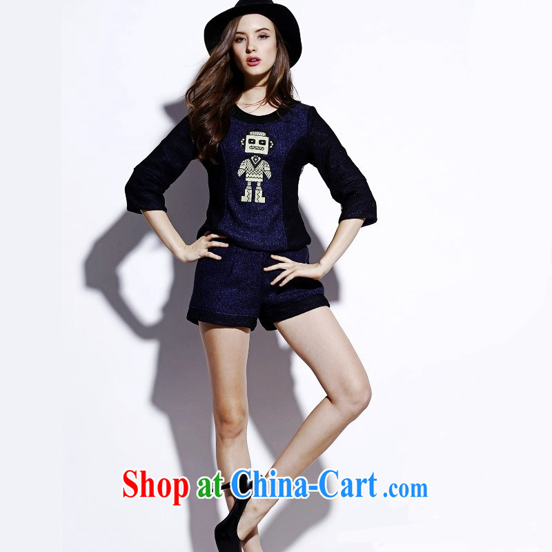 Qin Qing store 2015 spring new European and American style robot embroidered wool? leisure two-piece E 077 Map Color XL