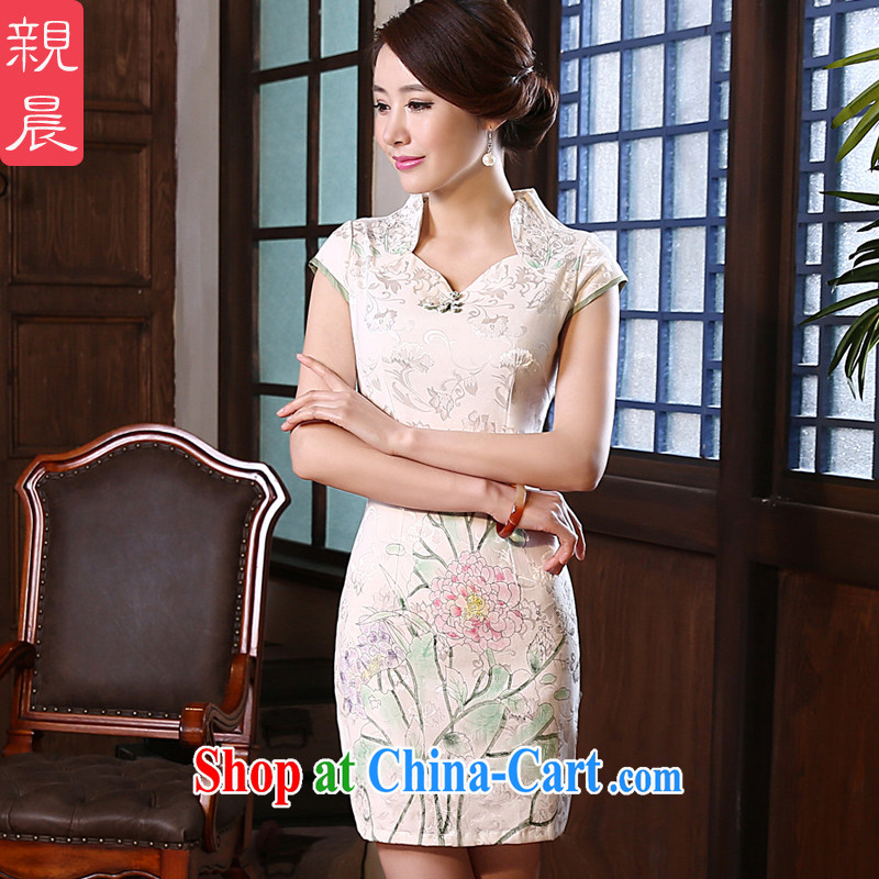 The pro-am 2015 as soon as possible new spring day cultivating short improved Stylish retro style short-sleeve cheongsam dress White - 10 days the XL - waist 77 CM