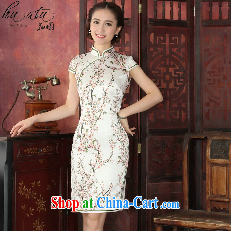 spend the summer dresses new female Chinese improved, DOS SANTOS for silk retro dresses silk Chun Tao short cheongsam dress, peach S