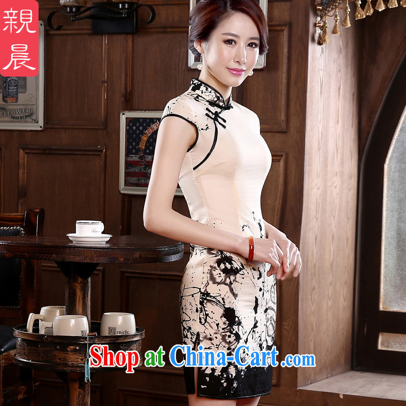 pro-am 2015 spring day retro short cultivating improved stylish short-sleeve on the truck girl cheongsam dress white 2XL - waist 80cm - 10 day shipping