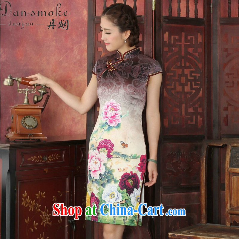 Bin Laden smoke Silk Cheongsam dress the Summer dresses female state color day Hong Kong Peony sauna Silk Cheongsam classic retro dresses dress the color day Hong Kong Peony 2 XL