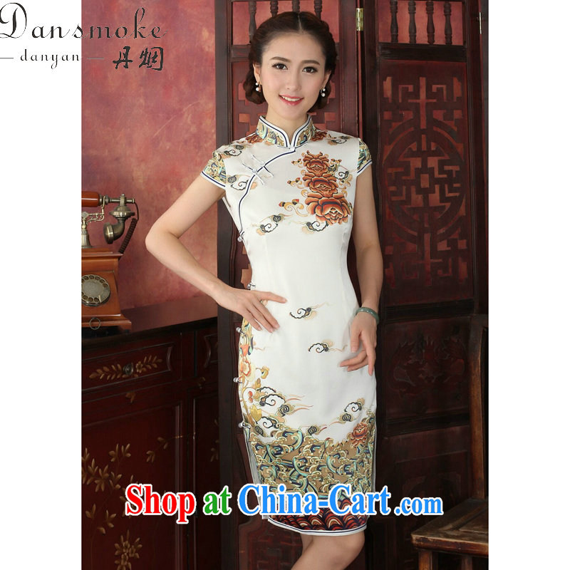 Dan smoke new summer Silk Cheongsam female noble positioning cheongsam Xiangyun retro 3 piping sauna Silk Cheongsam banquet Xiangyun 2XL