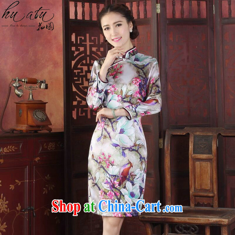 Take the spring and summer dresses new dress Silk Cheongsam Chinese, for improved tulip dos santos long-sleeved Silk Cheongsam dress tulip 3 XL