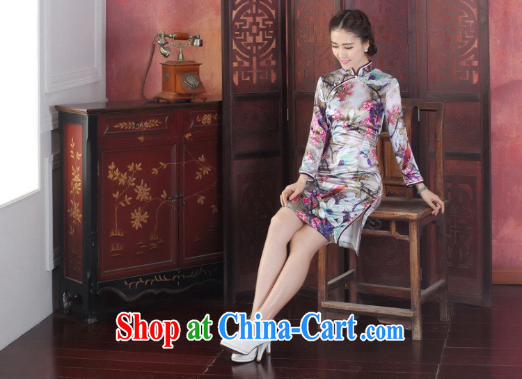 Bin Laden smoke-free spring and summer dresses new dress Silk Cheongsam Chinese, for improved tulip sauna silk long-sleeved qipao gown tulip 3 XL pictures, price, brand platters! Elections are good character, the national distribution, so why buy now enjoy more preferential! Health