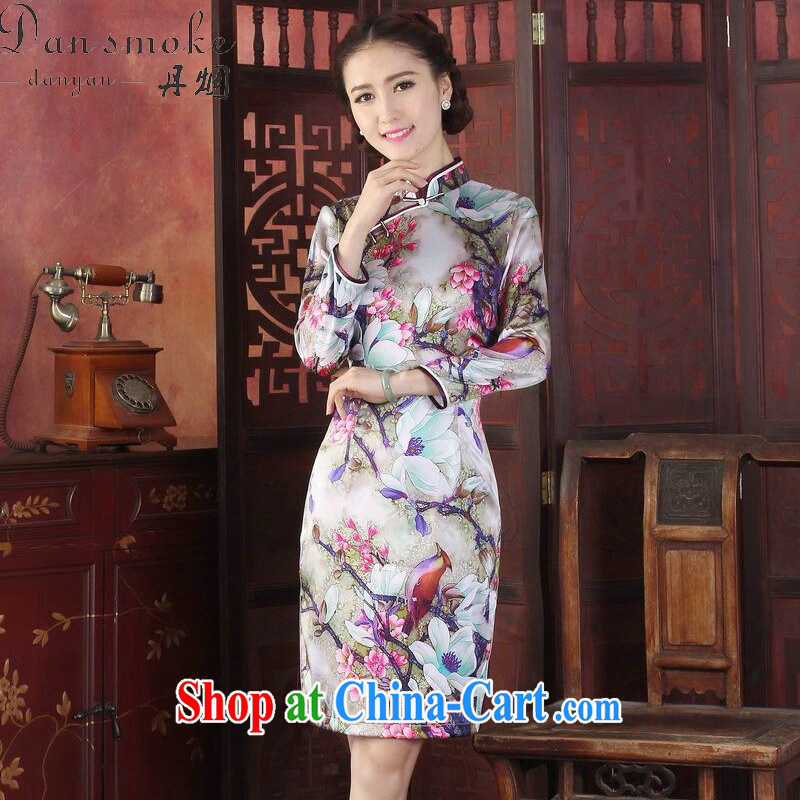 Dan smoke spring and summer dresses new female Silk Cheongsam Chinese, for improved tulip sauna silk long-sleeved qipao gown tulip 3 XL