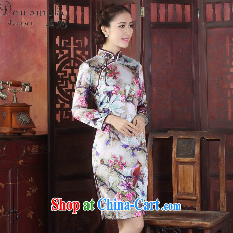 Dan smoke spring and summer dresses new female Silk Cheongsam Chinese, for improved tulip sauna silk long-sleeved qipao gown tulip 3 XL, Bin Laden smoke, shopping on the Internet