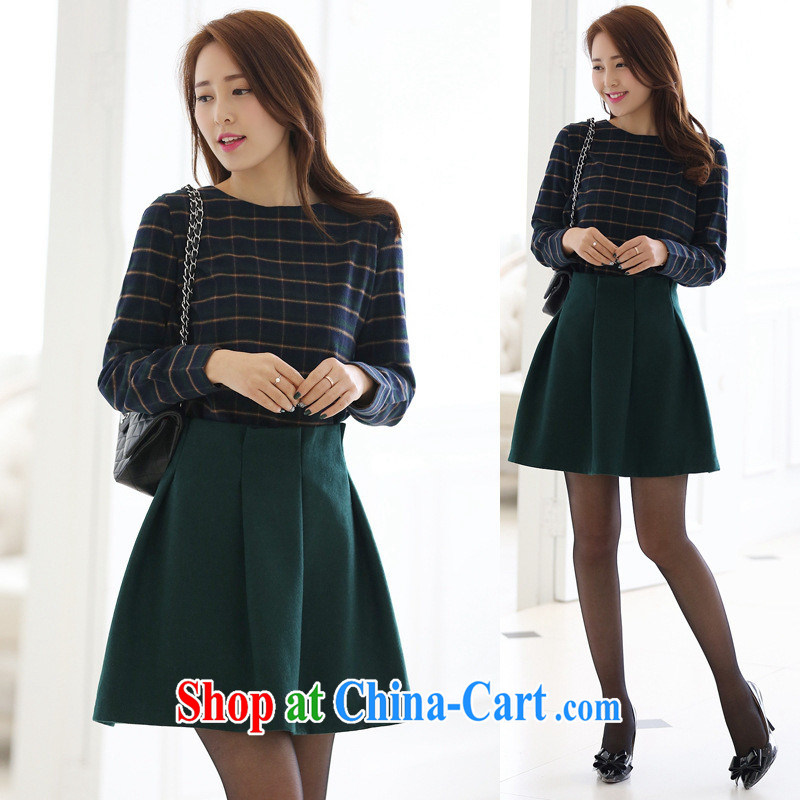 Qin Qing store spring new female temperament Korean video thin T-shirt + 100 hem body skirt stylish beauty T tartan shirt X 164 package L