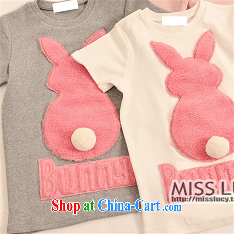 September 2015 fashion spring new Korean 100 ground on three-dimensional rabbit hair ball letters on the spring beauty graphics thin short-sleeve shirt T white are code