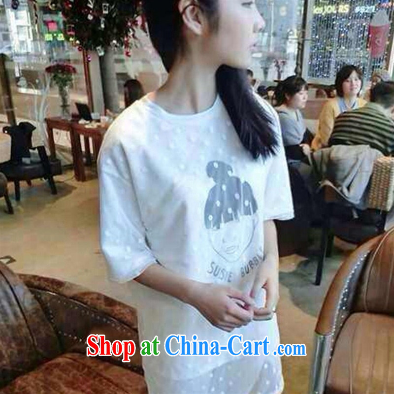 September 2015 fashion spring new sweet College wind Korean Wave point lace girls stamp Avatar loose short sleeve shirt T white are code
