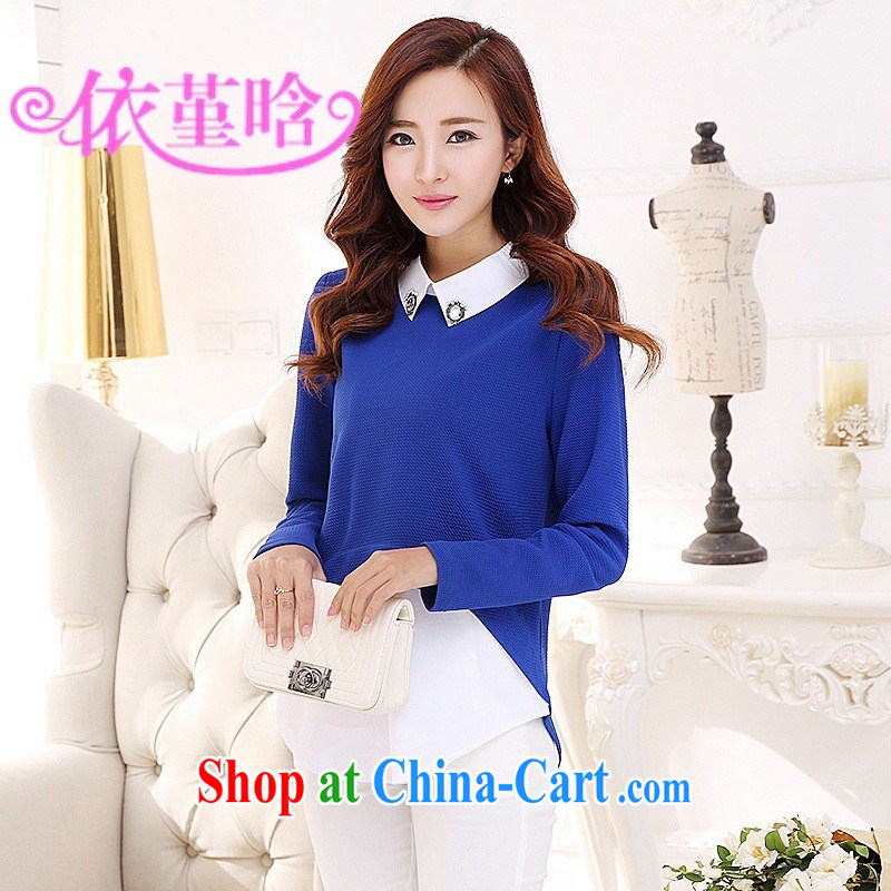 9 month dress elections as soon as possible 542,980 2015 spring new Korean liberal lapel leave two, long, large, solid blue shirt XXL