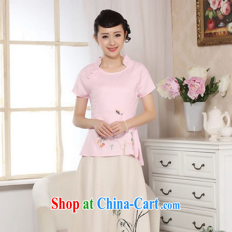 Allow Ms. Jing Tang Women's clothes summer wear T-shirt, cotton for the hand-painted Chinese Han-female improved Tang replace short-sleeved pink 2 XL