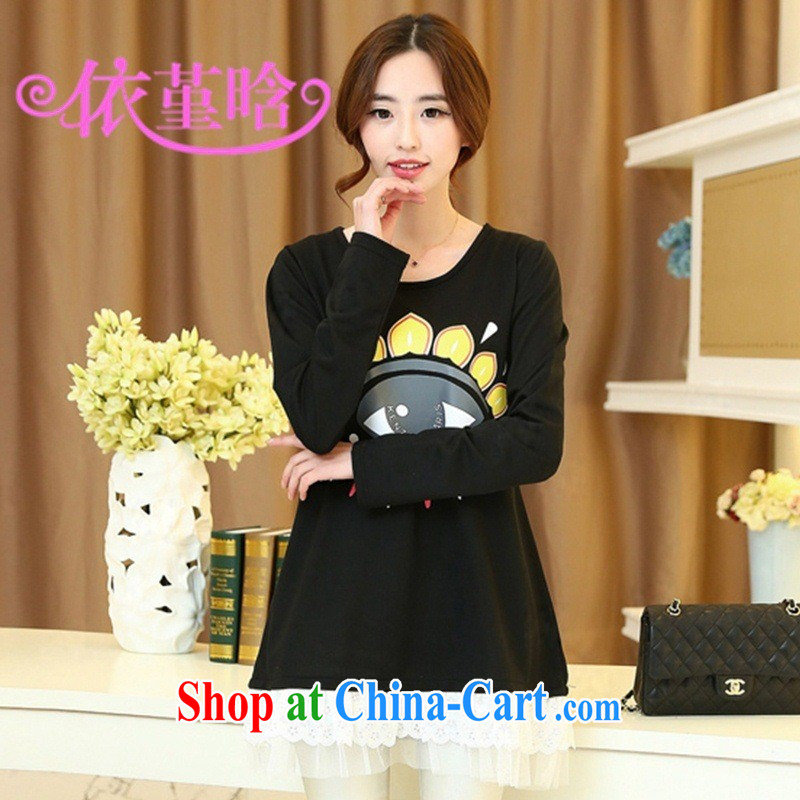 9 month dress (526,690 -- 2015 spring new Korean fashion eyes pattern loose cartoon pregnant women solid shirt black XXXL
